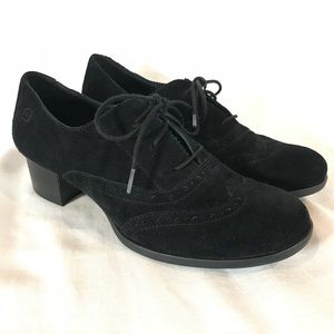 Born Naleigh Oxford Pump Black Suede Lace Up Shoes